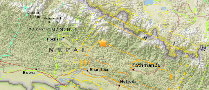 Location map of the Earthquake in Central Nepal