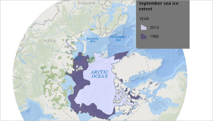 Map of Sea ice extent in 1980 and 2014.