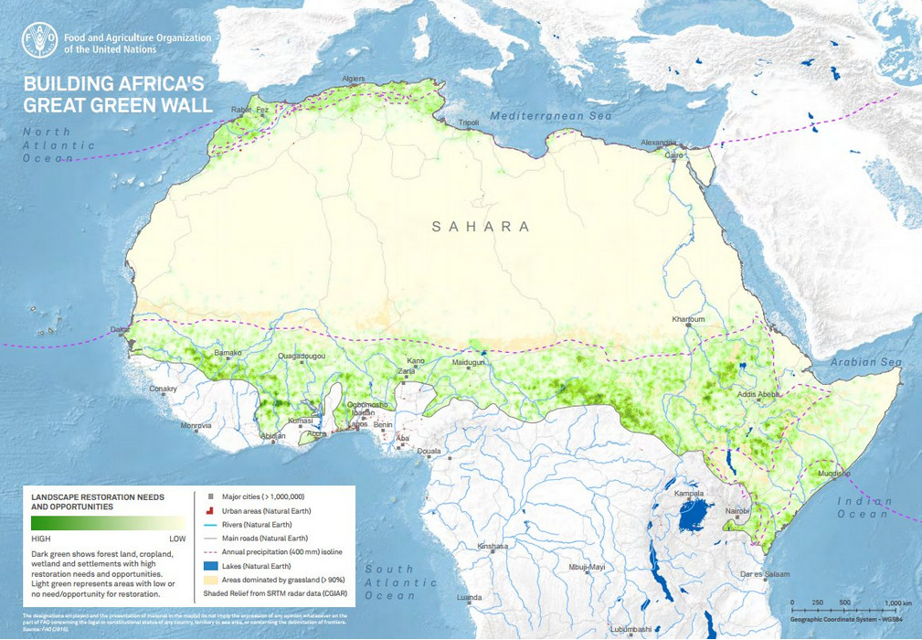 Great Green Wall on map of Africa
