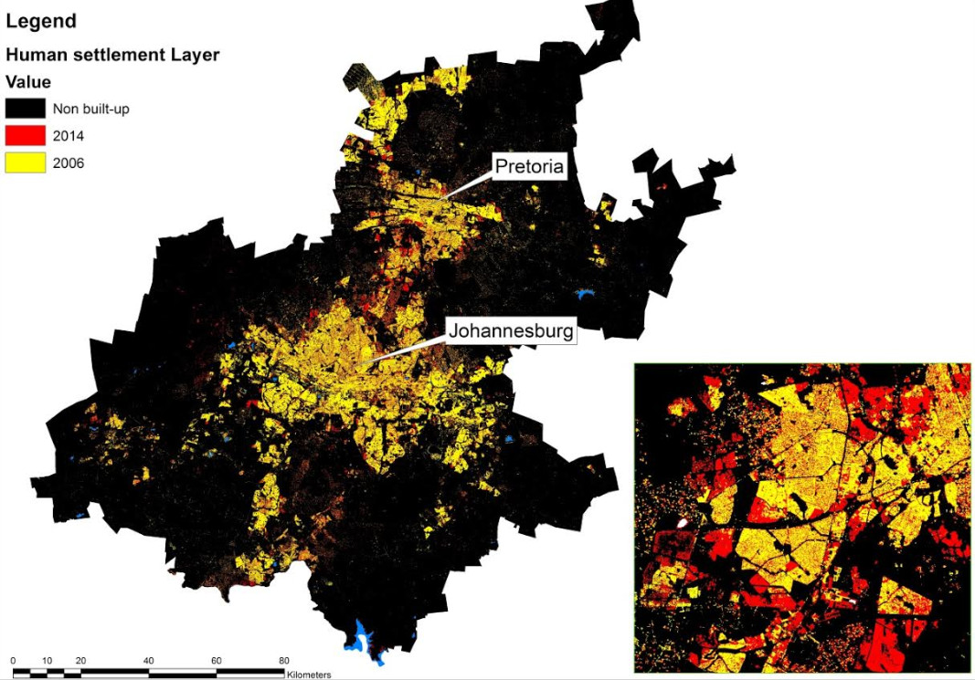 map of spatial urban growth around Johannesburg and Pretoria