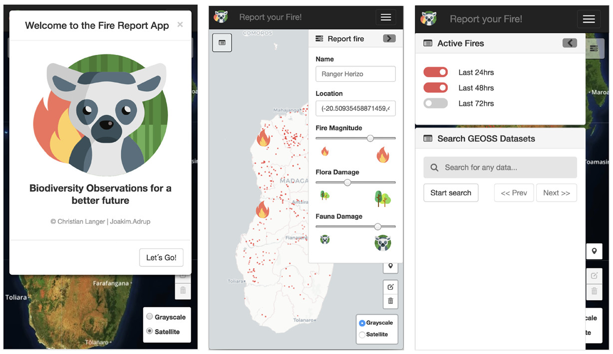 Screenshots from the 1st place GEOSS/HACK app Madagascar Fire, which allows forest rangers to quickly and easily report and track wild fires.