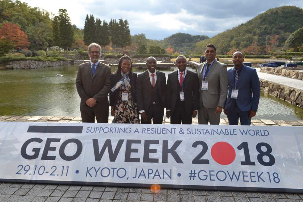 The South African delegation to the GEO-XV Plenary (L-R): Imraan Saloojee (SANSA), Andiswa Mlisa (SANSA), Mmboneni Muofhe (DST),  Humbulani Mudau (DST),  Sives Govender (CSIR), Zipho Tyoda (DST)