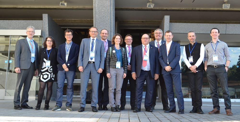 Members of the GEO LDN Initiative from the GEO Secretariat, UNCCD and Conservation International pose with representatives of the German delegation to the GEO-XV Plenary in Kyoto, Japan, following a pledge of support by the German Federal Ministry for Economic Cooperation and Development (BMZ).