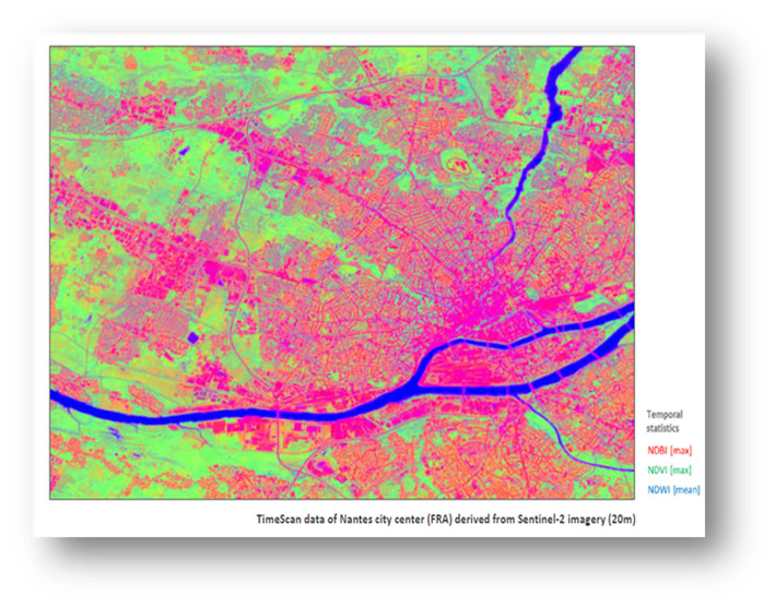 TimeScan data in Nantes derived from Sentinel 2 (20 m resolution), provides temporal statistics about Normal Difference Vegetation Index (NDVI), Normal Difference Built-up Index (NDBI) and Normal Difference Water Index (NDWI) meant to derive information about urban energy modeling.