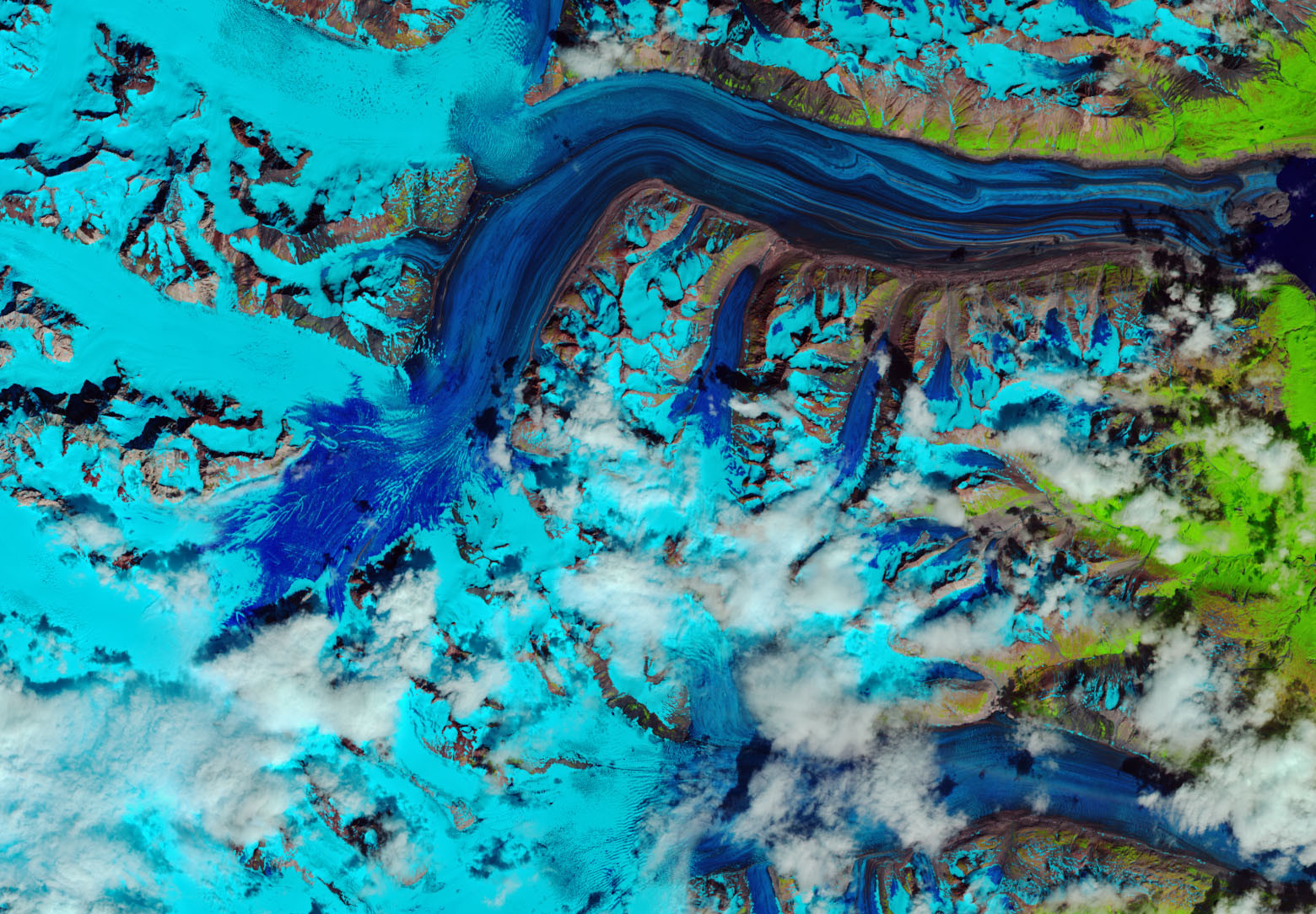 "This false-colour photo taken by Landsat-8 on 26 July 2018 captured the rapid development of a ""snow swamp"" at Kluane National Park in Canada's Yukon territory.  JOSHUA STEVENS/U.S. GEOLOGICAL SURVEY/EUROPEAN SPACE AGENCY/NASA"