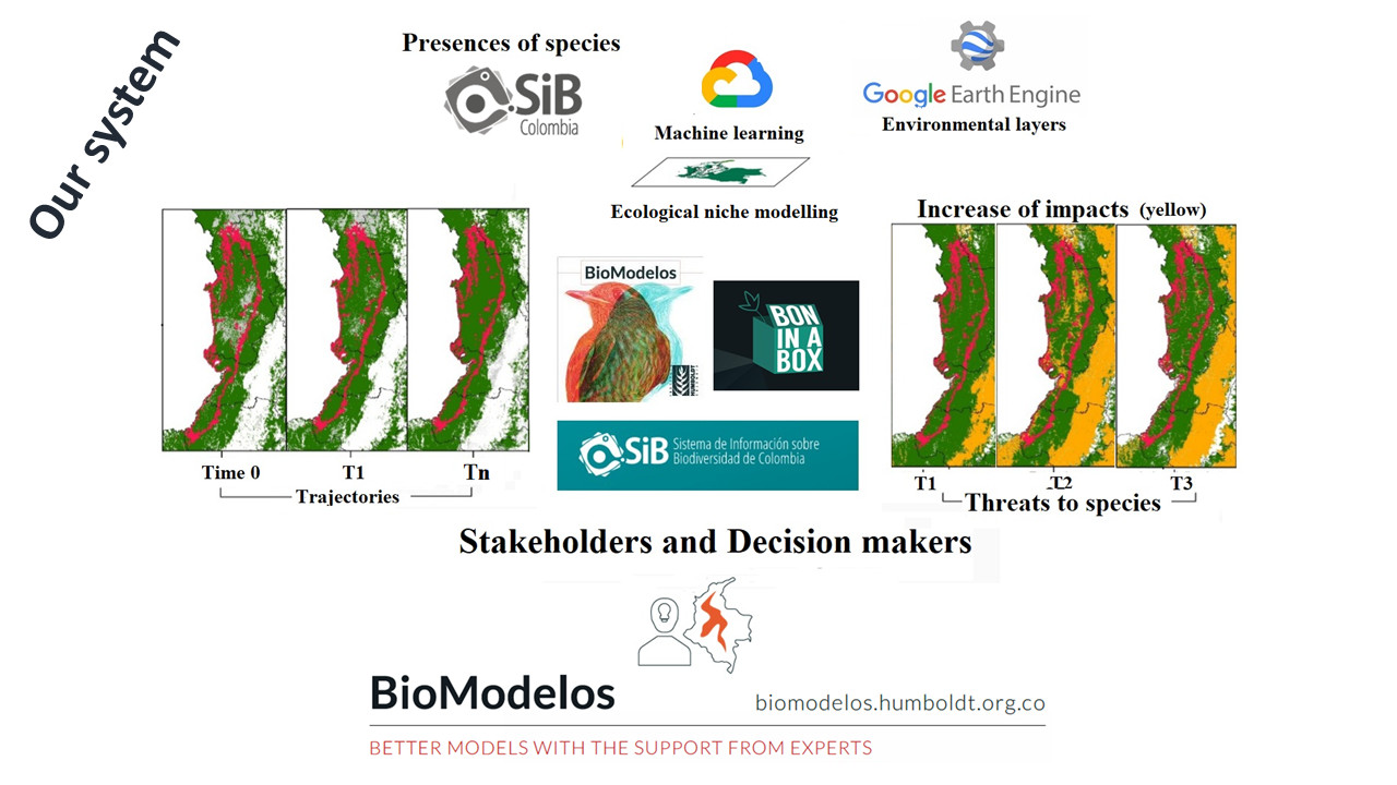 BioModelos plus GEE. Free maps and protocols using GEE data to identify near real-time loss habitat alerts.