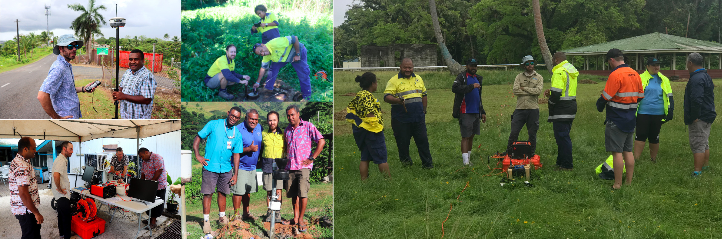These pictures show Water Resources team members undertaking a RTK test survey; Preparing for a showcase at GEM-SPC; Working in the field with the Mineral Resources Department, Fiji and local stakeholders and working with the  with Mineral Resources Department, Fiji conducting electrical resistivity methodology