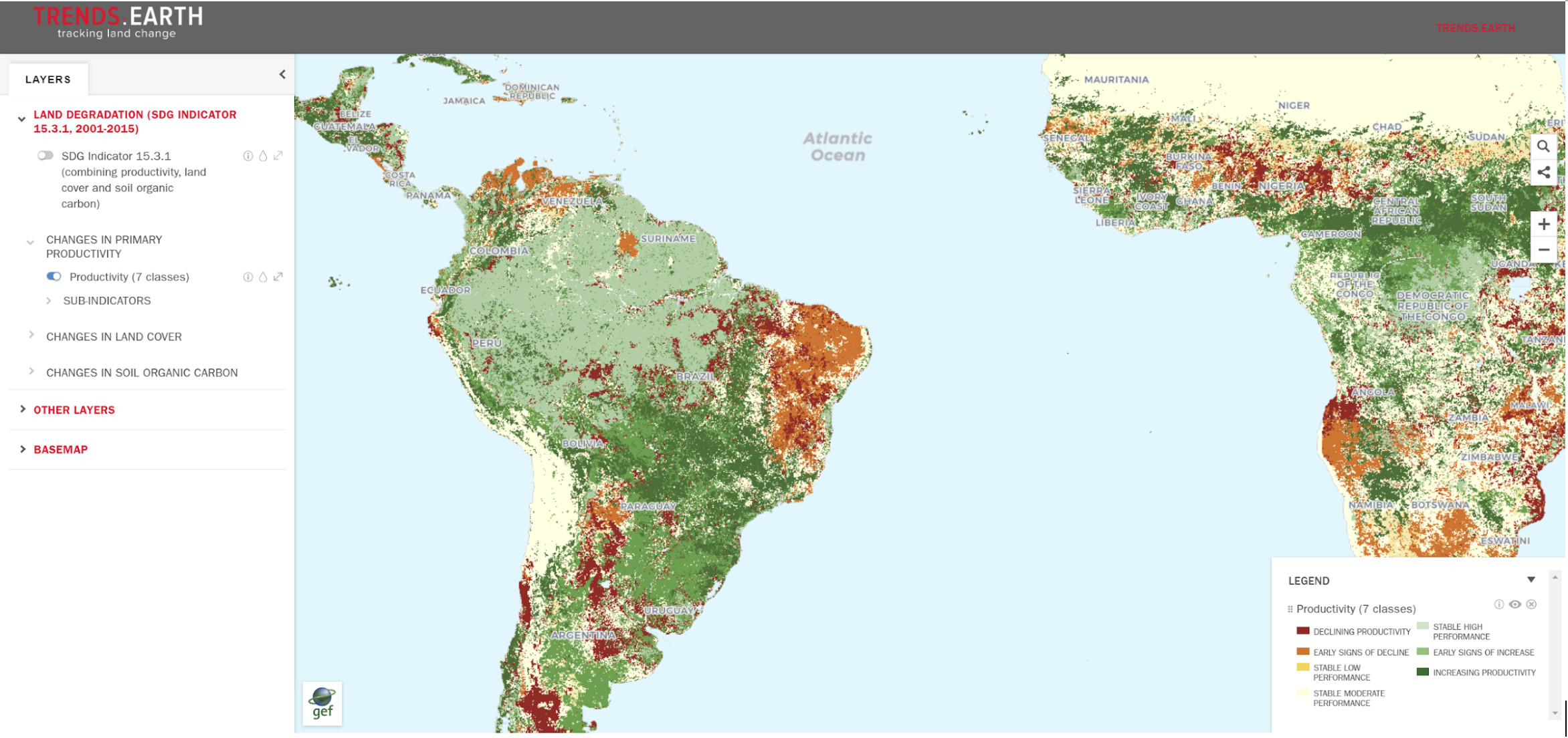 Image from Trends.Earth Resilience Atlas. Trends.Earth currently allows users to assess land degradation using desktop software. With the help of Google Earth Engine, we will produce a cloud-based web platform that will make the analysis more dynamic and relevant at local scales through the use of Landsat and Sentinel data.