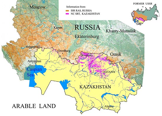 Kazakhstan cropland and regional arable land